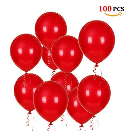 JOJOR Globos Rojos,100 Piezas Globos Helio Latex Perlado Ø 30 cm para Bodas Aniversario San Valentin,Happy Birthday 1 Año Cumpleaños Fiesta Arco Graduacion Decoracion