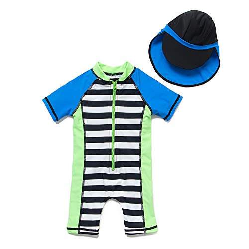 upandfast Kids One Piece Zip Sunsuit with Sun Hat UPF 50+ Sun Protection Baby Beach Swimsuit (Stripe2, 9-12 Months)