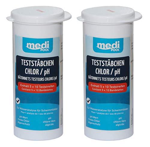 Medipool 2 Dosen Teststreifen für Chlor/pH Wert/Algenschutz 100 Teststäbchen