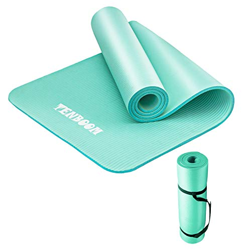 Tenboom Thick Yoga Mats for Women and Man 1/2 Inch Thickness No Slip Exercises Mat AntiTear Fitness Pilates Workout Mat for Home Gym with Carry Strap