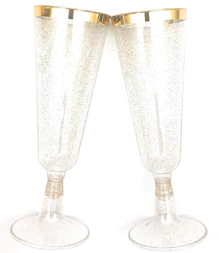 70pc Glitter Plastic Classicware Glass Like Champagne Wedding Parties Toasting Flutes Party Cocktail Cups (Gold Rimmed w/ Gold Glitter)