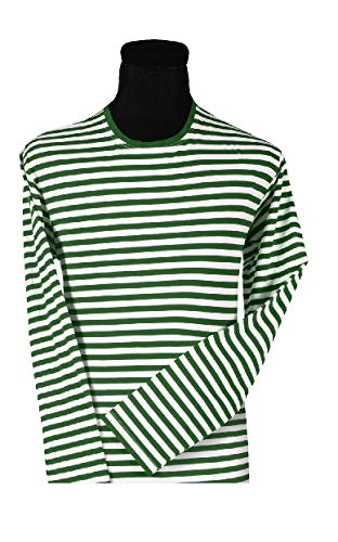 narrenkiste T2594-0302-XL - Camiseta de payaso (manga larga, talla XL), color verde y blanco