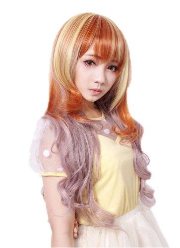 Prettyland C729-70cm Perruque longue avec frange ondulée aux pointes – rose/blond/roux