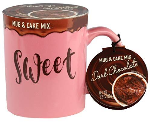 Modern Gourmet Foods - Tassenkuchen Geschenkset Mit Rosa Tasse & Schokokuchen - 90 g Dunkle Schokolade Kuchenmischung