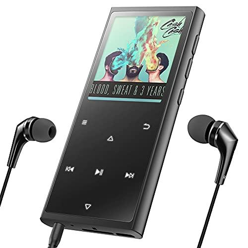 Reproductor MP3 Bluetooth 16G Portátil Auriculares con Cable, Botón de Luz táctil Luz, Altavoz Incorporado, Grabadora de Voz, Audiolibros, Podómetro, Radio FM, Reproductor Música,Soporta hasta 128 GB