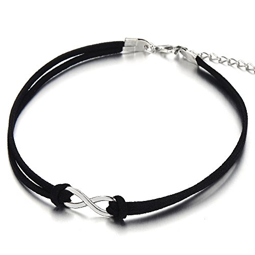 COOLSTEELANDBEYOND Ladies Womens Girls Black Choker Necklace with Small Infinity Love Charm Pendant