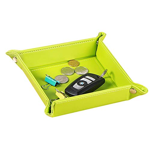 YAPISHI Mens Valet Tray Organizer for Nightstand Dresser, Leather Key Dish for Change Wallet Jewelry Dice Coin Watch, Travel Catchall Bowl (Green)