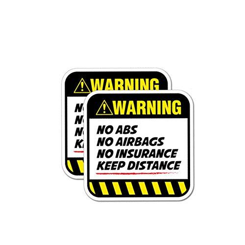 WADMY Auto Stickers 2X 8.5Cm*8.5Cm Danger Auto Sticker Waarschuwing Geen Airbags Verzekering Houd Afstand Decal Cover Krassen