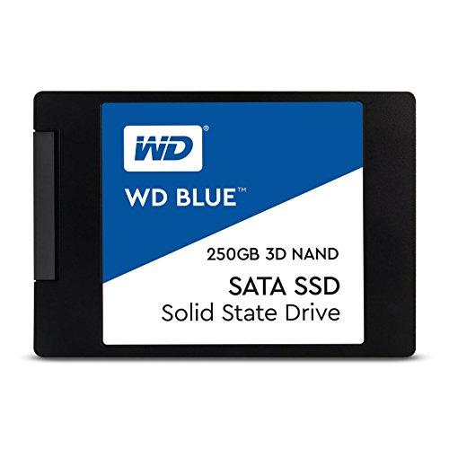"""Western Digital 250GB WD Blue 3D NAND Internal PC SSD - SATA III 6 Gb/s, 2.5""""/7mm, Up to 550 MB/s - WDS250G2B0A"""