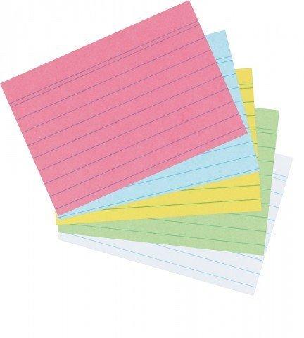 Herlitz - Karteikarten A8 liniert farbig sortiert Großpackung 1000St