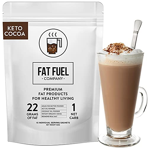 Fat Fuel Instant Keto Cocoa – a Complete Keto-Friendly Meal Replacement with MCT Oil, Coconut Oil, and Grass Fed Butter – Low Carb Hot Chocolate, Organic (15 Packets)