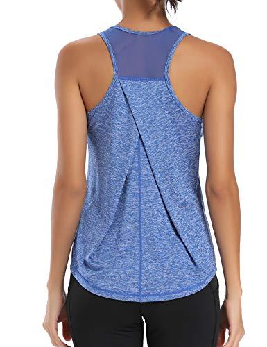 Aeuui Workout Tops for Women Mesh Racerback Tank Yoga Shirts Gym Clothes Bright Blue
