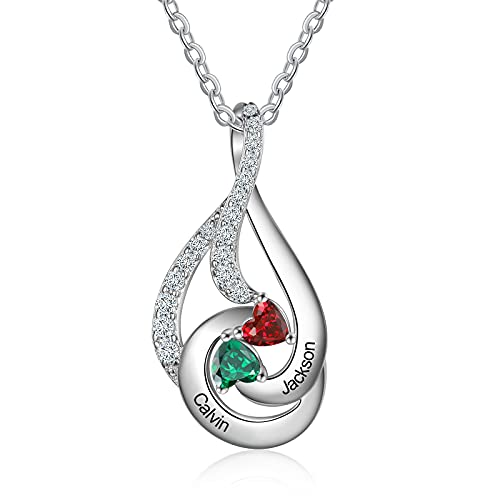 Personalized Mother Necklace with 2 Birthstones, Sterling Silver Necklaces for Women, Custom Drop Shape Necklaces Silver Jewelry Birthday Gifts for Mom Wife Girlfriend Valentine's Day/Christmas Gift/Mothers Day Gifts for Her (2 birthstones&2 names)