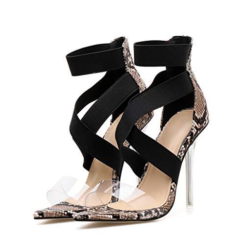 NMERWT Damen High Heel Sandalen Schlangenleder Spitz Dünne Transparente Ferse Frauen Pumps Klassische Frauen Spitz Freizeitschuhe Party Sandaletten