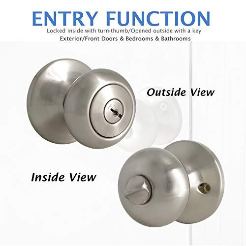 10 Pack Door Locksets with Same Key Satin Nickel Exterior Door Knobs Keyed Alike Entry Contractor Pack Door Knobs