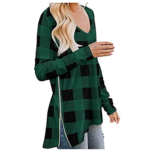 Zldhxyf Femme Col V Haut Manches Longues T-shirt Blouse Tops Carreaux Sweatshirt Multicolore Sportswear Casual Été Pullover, vert, XL