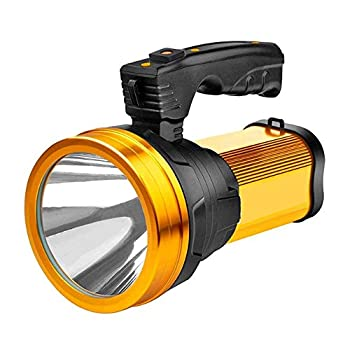Super Bright Rechargeable Handheld LED Spotlight 6000 Lumen Portable Flashlight High Powered Searchlight Large Lithium Battery Long Lasting Camping Torch Lantern Work Light USB Power Bank Phone Charge