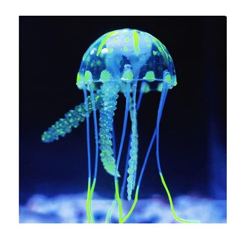 Künstliche Quallen Deko Aquarium leuchtende Jellyfish Dekoration Künstliche Glowing-Effekt Fish Tank Ornament Silikon Deko Quallen Silikon für Aquariumdekoration Simulation Quallen Weiche Quallen