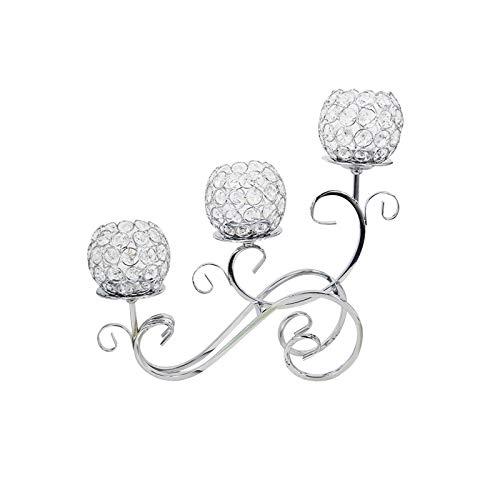 YChoice365 Candelabro di Cristallo , Portacandele in Argento a 3 Bracci Artigianato Decorativo , Evento di Matrimonio a Casa Cena Romantica a Lume di Candela Candelabri