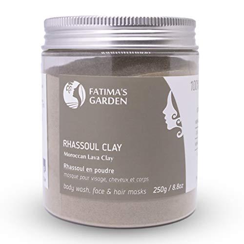 Ghassoul en poudre pur 100% naturel pour visage, cheveux et Hammam par Fatima's Garden; Argile Naturelle, propriètés lavantes et adoucissantes, Purifiant pour la peau, Végan sans cruauté-250gr