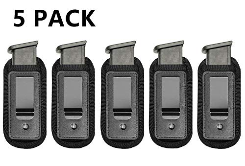 TACwolf 5 Pack IWB Inside Waistband Pistol Handgun Magazine Holster Pouch for Concealed Carry Universal Single Double Stack Mags for Glock17 26 19 Sig Sauer S&W Springfield XD Ruger 9mm/.45
