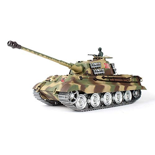 Drametree Alemán King Tiger Metal del Tanque RC Remoto del Tanque de Control, de 2,4 GHz de Control Remoto Modelo de Escala 1/16, Pista de Metal, el Sonido y Humo, Fuego BB Bomba