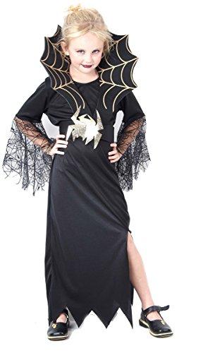 DEGUISE TOI - Déguisement sorcière araignée dorée Fille Halloween - L 10-12 Ans (130-140 cm)