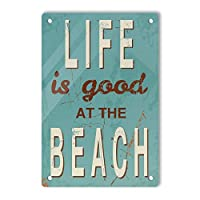RCY-T Vintage Style ブリキサイン, Life is Good at Beach Retro Decor Sign Wall Decor for Movie Home Bars Cafes Pubs 20x30cm