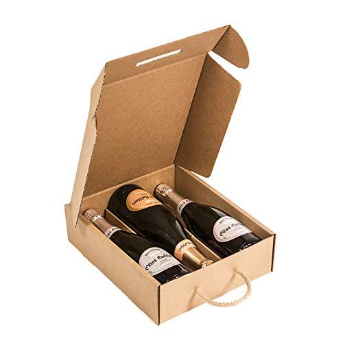 KARTOX | Estuche para 3 Botellas |Caja de cartón para Cava o Champagne | Caja de Color Kraft | 4 Unidades