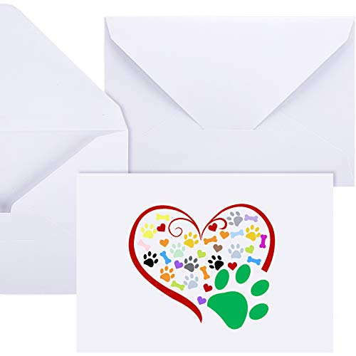 48 Pieces Paw Printed Note Cards Set, 24 Pieces Heart Paw Printed Note Cards Thank You Card Paw Print Blank Greeting Card with 24 Envelopes Animal Lovers Pet Shop Pet Birthday Party (Colorful)