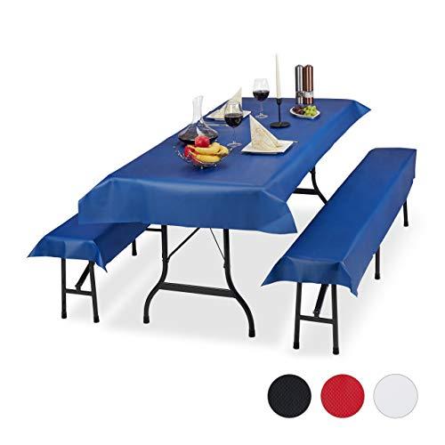 Relaxdays Biertentgarnituur 3-delige set, biertafel tafelkleed 250x100 cm, 2 bierbankkussens, afwasbaar, blauw