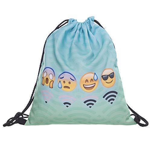 Creativee - Sac à dos imprimé avec cordon de serrage - Pour enfant (unisexe) - En nylon - Sac pliable pour lécole, la maison, le sport - Sac de rangement ou de voyage, emoji wifi mint backpack