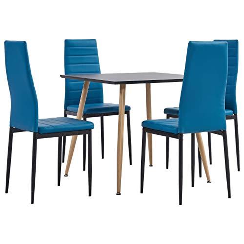 vidaXL Juego de Comedor 5 Piezas Set Conjunto Muebles Sillas Sofás Asientos con Mesa Soporte Cocina Hogar Interior Casa Cuero Sintético Azul Mar