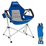 KingCamp Folding Hammock Swing Rocking Chair Reclining Camping Chair Lounger Beach Moon Chair for Outdoor Patio Lawn Backyard Picnic