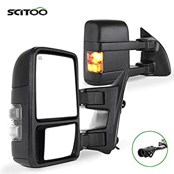 SCITOO Towing Mirrors Tow Mirrors Black Truck Mirrors fit for 1999-2007 for Ford F250/F350/F450/F550 Super Duty with Pair LH RH Power Adjusted Heated Turn Signal Light Manual Folding and Telescoping