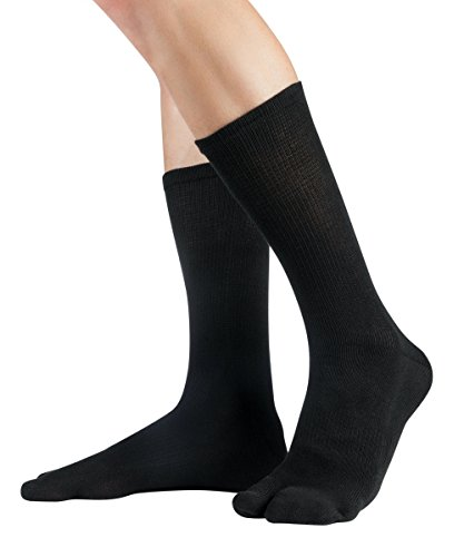 Knitido Traditionals Tabi, klassische wadenlange Zwei-Zehen-Socken aus Japan, Größe:39-42, Farbe:Schwarz (101)