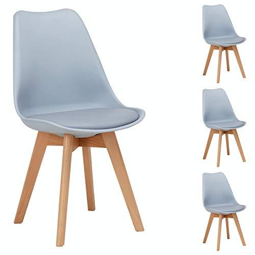 IDIMEX Esszimmerstuhl Abby, Stuhl Esszimmer Küchenstuhl Esstischstuhl Polsterstuhl, aus Kunststoff, Retro Design, im 4er Set, in grau