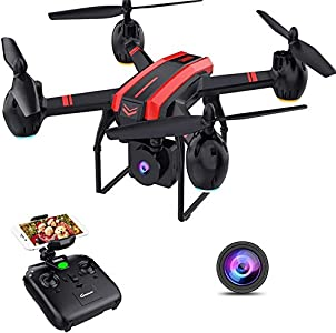 SANROCK X105W Big Drones for Kids and Adults with 720P HD Camera, WiFi Real-time Video Feed, App Control. Long Flying Time 17Mins, Altitude Hold, Gravity Sensor, Route Made, One Button Return