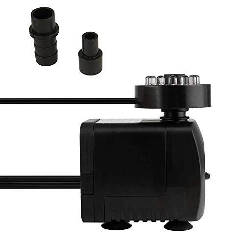 keruite Mini Pompe à Eau Submersible avec lumière LED, Pompe à Eau Fontaine Ultra-silencieuse de 840L / H, Perforation de 16 W 12 Lampes +3 Lampes Norme européenne avec 2 Buses