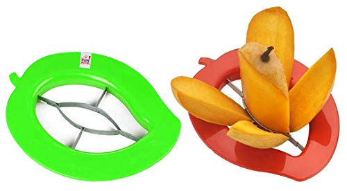 Fun Homes Plastic 2 Pieces Mango Cutter Chopper Slicer Tool Slicing Machine Stainless Steel Blade (Multi), Pack of 2