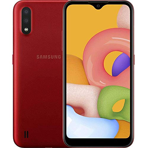 "Samsung Galaxy A01 (A015M) 16GB, Dual SIM, GSM Unlocked, 5.7"" Display Smartphone - International Version - Red"