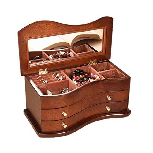 WYBFZTT-188 Caja de joyería Organizador Sección Exhibición Bandeja Caja de Almacenamiento Cajón Espejo Chicas Adolescentes Mujeres Titular para Pendiente Anillo Collar Pulsera