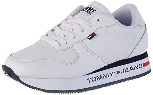 Tommy Jeans Damen Flatform Runner Sneaker, Weiß (White Ybs), 42 EU