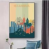 LYHNB Arte de la Pared de la Lona 60x80cm sin Marco Pintura de Paisaje de la Ciudad Carteles de Viaje de Paisaje Urbano Retro de la Ciudad de Estambul para decoración del hogar