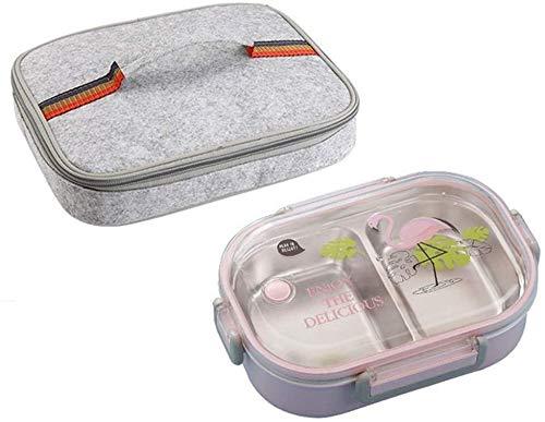 Pkfinrd Lunch Box304 roestvrij staal Bento Box met compartimenten kinderen school witte kraag voedsel container lekvrij voedsel doos C roze tas Cup Set