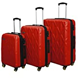 HyBrid & Company Luggage Set Durable Lightweight Hard Case Spinner Suitcase LUG3-SS505A, 3 Pieces, Red
