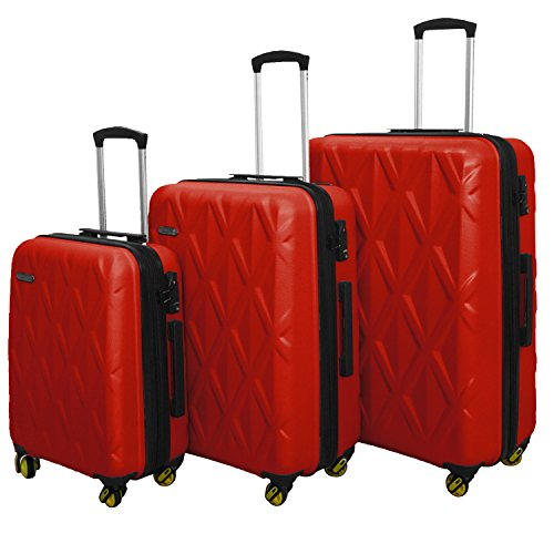HyBrid & Company Luggage Set Durable Lightweight Hard Case Spinner Suitcase LUG3-SS577A, 3 Pieces, Silver