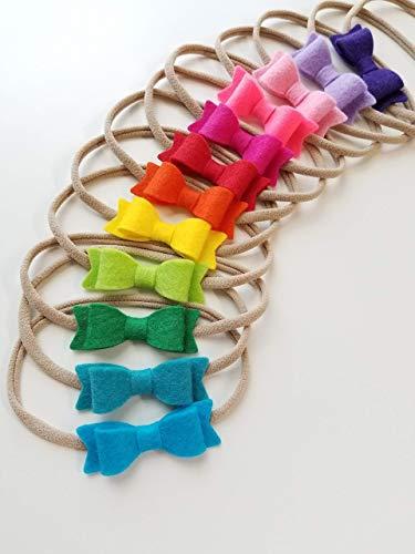 RAIN-BOW Mini Bow set of 12 headbands, baby nylon headbands in Hot Colors
