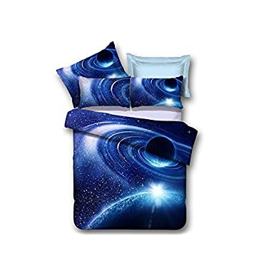 Ammybeddings 4 Piece Blue Space Duvet Cover with 1 Sheet and 2 Pillow Shams,Charming 3D Galaxy Bedding Sets,Twin/Full/Queen/King,Blue,Soft Stylish Bedroom Decor Duvet Cover Set (Twin, Blue)