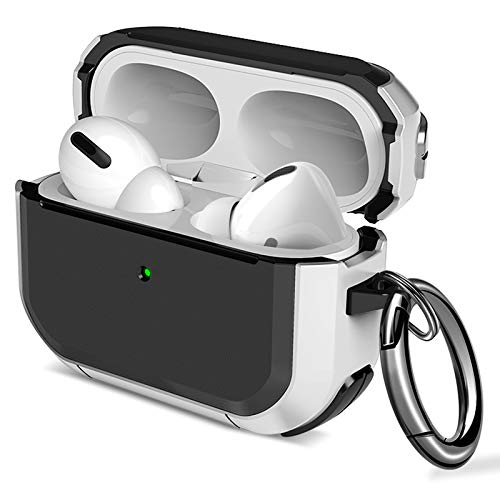 Maxjoy Airpods Pro Case Flexible TPU Protective AirPods Case Shockproof Skin Cover for Apple Airpods 3 &1 Charging Case with Keychain for Men Women [Front LED Visible] (White)